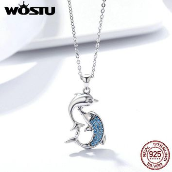 WOSTU Romantic 100% 925 Sterling Silver Love Dolphins Pendant Necklace For Women Silver Jewelry Mother's Day Gift FIN168