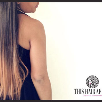 "Ombre Hair Extensions - 22"" Caramel Ombre Clip In Hair Extension - Brown Ombre Hair"