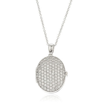 925 Sterling Silver Iced Out Oval Locket Pendant with a 16 Inch Rolo Chain Necklace