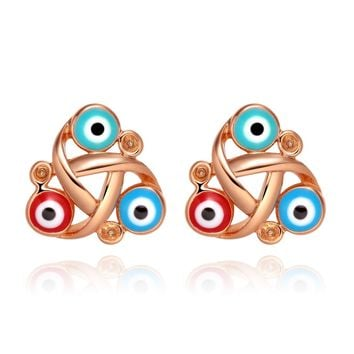 Small Cute Celtic Triquetra Knot Evil Eye ProtectiGold-Tone Lucky Charms Magic Amulet Earrings