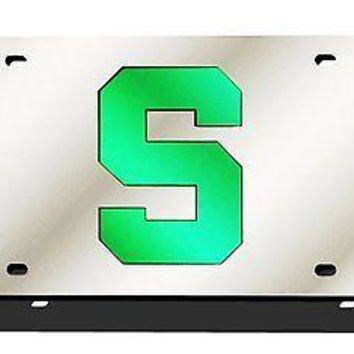 "Michigan State Spartans ""S"" SILVER Deluxe Laser Cut License Plate Tag University"