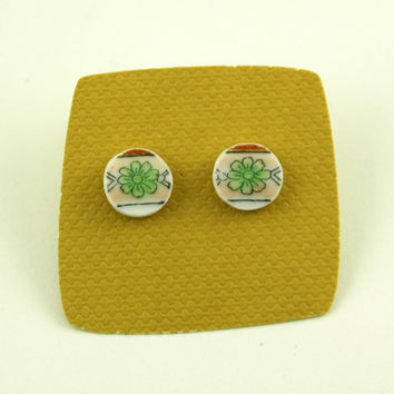 Tiny Green Daisies Broken Plate Earrings- Recycled From Vintage Dishes