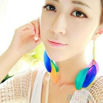 CREYUG3 Bohemian Contrast Color Handmade Feather Long Drop Dangle Eardrop Earrings (Color: Multicolor)