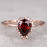 6x8mm Oval Garnet Engagement Ring Diamond Wedding Ring 14k Rose Gold January Birthstone