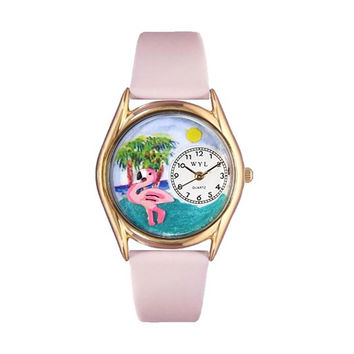 Whimsical Watches Healthcare Nurse Gift Accessories Flamingo Pink Leather And Goldtone Watch