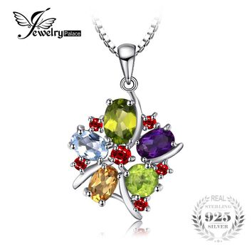 JewelryPalace Flower Multicolor 3.1ct Natural Amethyst Garnet Peridot Citrine Blue Topaz Pendant 925 Sterling Silver Jewelry