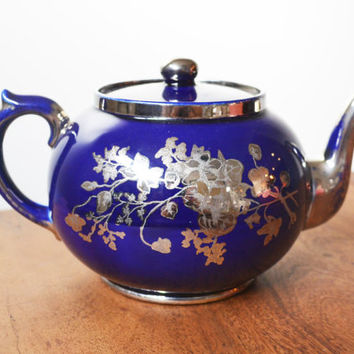 Gibsons Burslem England Eden Cobalt Teapot, with Silver Floral Etching, Numbered H626 ; Vintage , Collectable