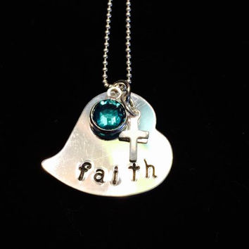 "Tickle Bug Kidz: Aluminum heart-shaped ""FAITH"" birthstone pendant with 18"" sterling silver ball chain."