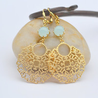 Light Mint and Gold Circle Unique Jewel Dangle Earrings.  Mint Gold Earrings.  Gift for Her. Dangle Earrings. Gold Earrings.