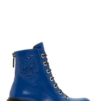 Kenzo Blue Embossed Logo Morticia Boots