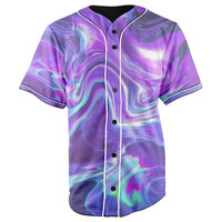 Trippy Waves Purple Button Up Baseball Jersey