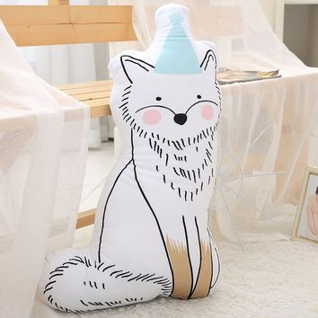 D Cute baby sleeping appeasing pillow Stuffed fox cat and squirrel Dolls Soft Plush 3D Printed Cartoon Cushion Pillow