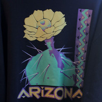 Vintage Arizona Sweatshirt, 1980s 80's Sweat Shirt. Saguaro Cactus Blossom, Size XL Made USA, Womens Winter Pull Over, Black