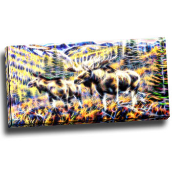 Moose On the Loose Canvas Wall Art Print