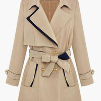Notched Collar Waist Tie Buttoned Trench Coat