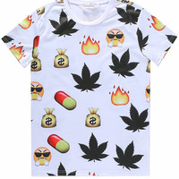 White 3D Emoji Maple Leaf Print Short Sleeve Graphic T-shirt