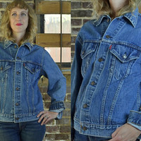 Vintage 70's Two Pocket Levi's Distressed Indigo Denim Jean Jacket