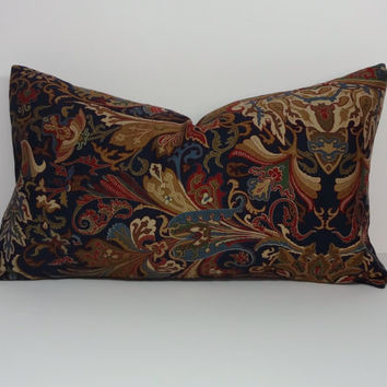 Decorative Pillow Cover, Paisley Cushion Cover, Calico Lumbar, 12 x 20