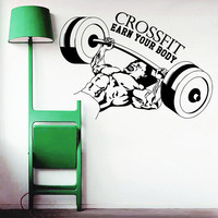 Wall Decal Quotes Sport Body-Building Crossfit Earn Your Body Design Vinyl Decals Gym Playroom Nursery Living Room Bedroom Home Decor 3794