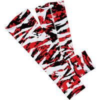 Digital ripped red, black and white camo arm sleeve
