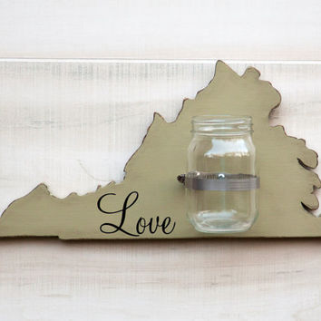 Virginia or any US state shape wood cutout sign mason jar wall art vase. Faith, Hope, Love or Family.  Wedding Housewarming Gift Decor