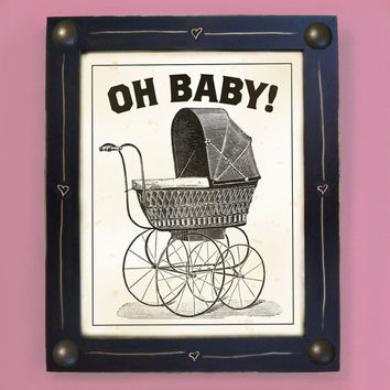 Babies Room Art Print Nursery Art Black and White Framed by DexMex