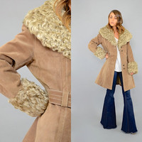 70's MONGOLIAN Fur + Leather Wrap Coat