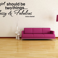 Classy & Fabulous coco chanel Wall Decal Lettering Quote Stencil Sticker Room Decor  (v02)