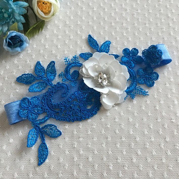 Wedding Garter  Blue ivory floral garter, Bridal Garter  - Something Blue, Keepsake Garter- Toss Garter- Lace Garter- Garter- Wedding Garter
