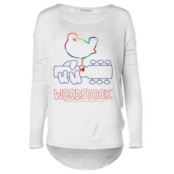 Vinyl Icons Woodstock 3 Days of Peace & Music main logo VIWS-022 Women's Long Sleeve Dolman Top