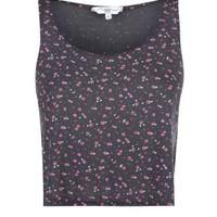 New Look Mobile | Grey Ditsy Floral Oversize Crop Top