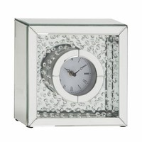 "Classy Wood Mirror Table Clock 10""W, 10""H By Benzara"