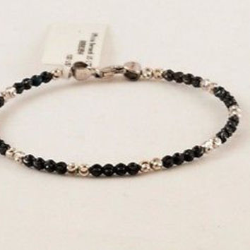 OFFICINA BERNARDI Sterling Silver 925 Black Silver Beaded Bangle Bracelet Italy