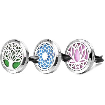 Dropshipping Stainless Steel Dream Catcher Tree Car Accessories Essential Oil Car Clips Locket Aromatherapy Diffuser Pendants