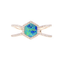 14kt gold and diamond Double Band Opal Hex ring – Luna Skye by Samantha Conn