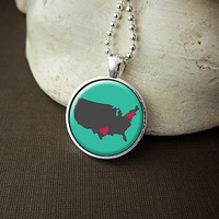 Custom Family United States Map Necklace, Customized Family Location Pendant, Personalized Family US Jewelry - Free Shipping
