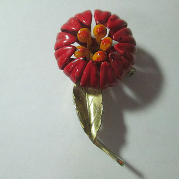 Vintage Red Curled Enamel Flower Pin Miniature Brooch Mid Century 1960s Bright Floral Mum