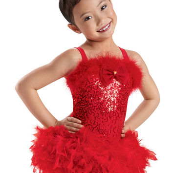 Feather Trimmed Sequin Leotard -Weissman Costumes