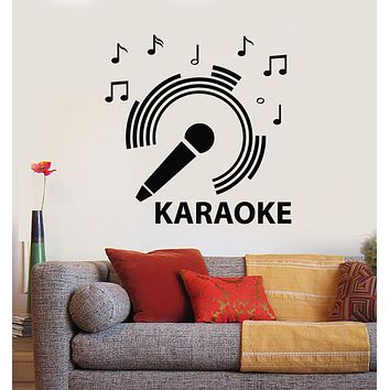 Vinyl Wall Decal Microphone Karaoke Club Notes Music Singing Stickers Mural (g527)