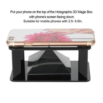 DIY 3D Holographic Hologram Display Holographic Projector Stand Pyramid Box for Smart Phones with 3.5-6.0 inches