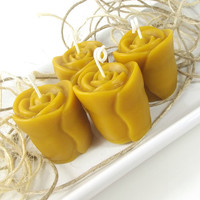 Beeswax Votive Candles, Golden Rose scented Beeswax Candle, (4)2 ounce Rose Votive Candles