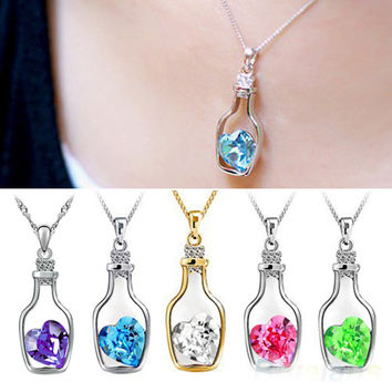 Hot 2016 Fashion Romantic Love Heart Bottle Pendant Clavicle Chain Big Crystal Rhinestone Love Charms Necklaces for Women Gift