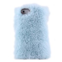 Cute Sky Blue Soft Fur Hard Cover Protective Case For Iphone 4/4s/5