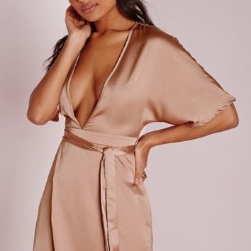 Missguided - Silky Kimono Wrap Dress Dusky Pink