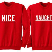 Nice and naughty couple sweater. Sibling Christmas sweater. Matching best friend Christmas sweater. Bff Christmas sweater. Twin ugly sweater