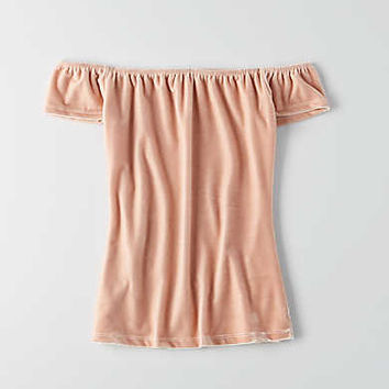 Don't Ask Why Off-the-Shoulder Velvet T-Shirt, Just Rosey