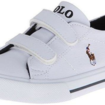 Polo Ralph Lauren Kids SCHOLAR EZ Sneaker (Toddler),White,8 M US Toddler