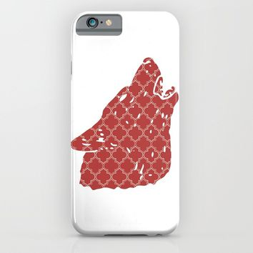 WOLF SILHOUETTE HEAD WITH PATTERN iPhone & iPod Case by deificus Art