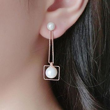 ac spbest E965 Pendientes New Hot Brincos Double Imitation Pearl Geometric Square Long Chain Tassel Stud Earrings For Women Girl Jewelry