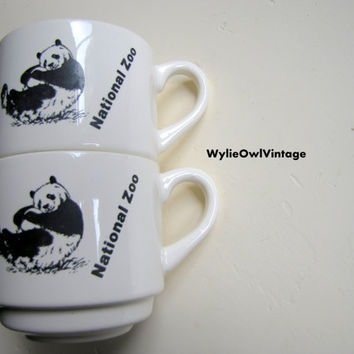 Vintage National Zoo Stackable Coffee Mugs 1980s